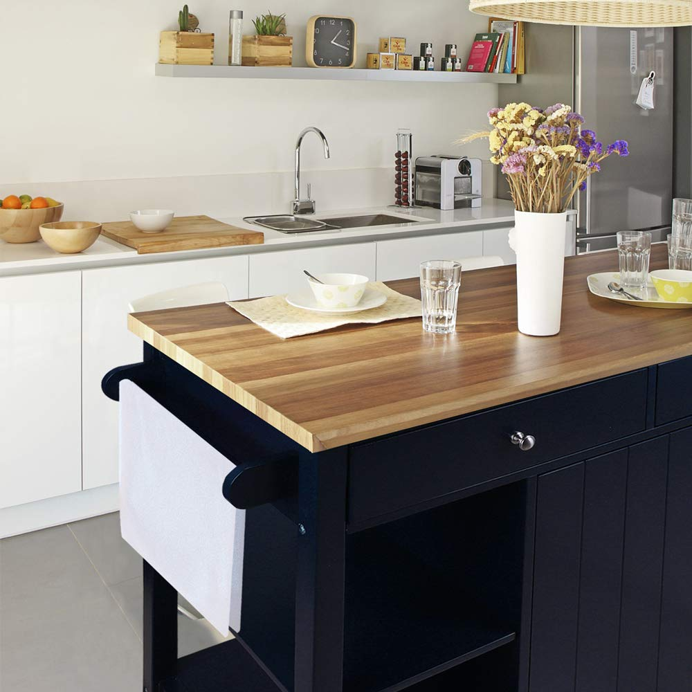 ChooChoo Kitchen Islands Cart on Wheels with Natural Rubber Wood Top, Utility Wood Kitchen Cart with Storage and Drawers, Easy Assembly - Navy Blue by ChooChoo (Image #4)