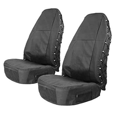 TIROL Water Resistant Universal Front Seat Covers for High Back (Pack of 2) Universal Seat Protectors with Multi-Pockets Organizer for Storage: Automotive