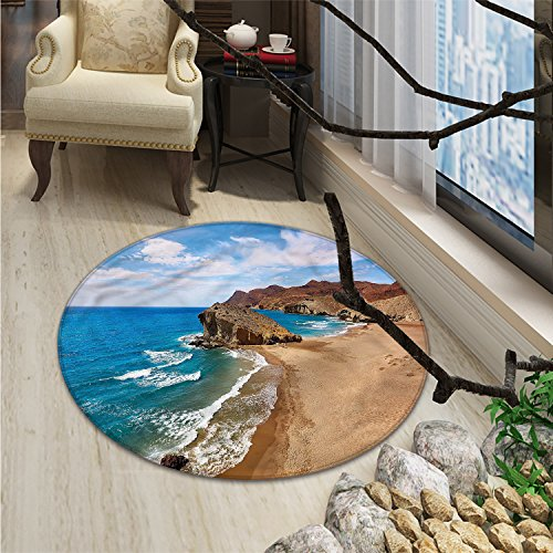 Landscape Round Area Rug Ocean View Tranquil Beach Cabo De Gata Spain Coastal Photo Scenic Summer SceneryOriental Floor and Carpets Blue Brown by smallbeefly