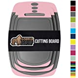 Gorilla Grip Original Oversized Cutting Board, 3 Piece, BPA Free, Juice Grooves, Larger Thicker Boards, Easy Grip Handle, Dishwasher Safe, Non Porous, X Large, Kitchen, Set of 3, Pink Gray