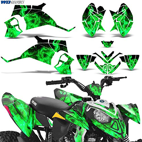 Polaris Outlaw90 Outlaw110 Decal Graphic Kit ATV Quad Graphics Sticker Deco Outlaw 90 110 FLAMES GREEN (Outlaw Body Kit)