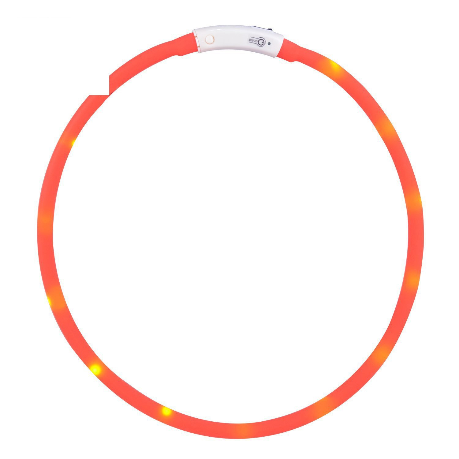 orange Perfect Home USB Rechargeable LED Luminous Dog Collar Multi-color Optional Waterproof Adjustable Flashing Light pet Safety Collar 1 Durable (color   orange)