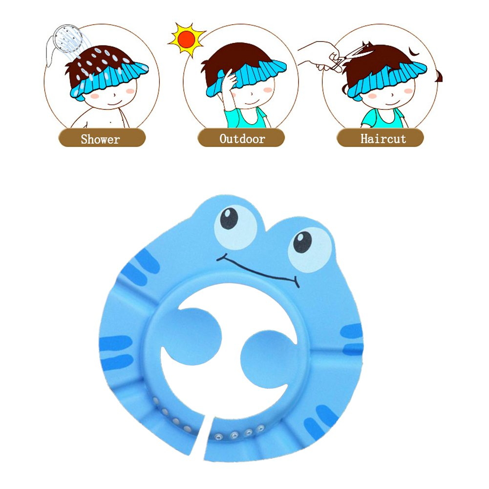 Cuteboom Baby Shampoo Shower Cap Safe Bathing Protection Soft Hat with Ear Protection Pads Adjustable Baby Visor Caps to Keep The Water Out of Their Eyes & Face(Blue Frog)