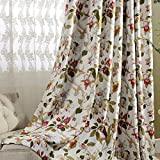 Blackout Flower Curtains for Bedroom - Anady 2 Panels Grommet Top Curtains Red Floral Drapes for Canada 84 inch Long