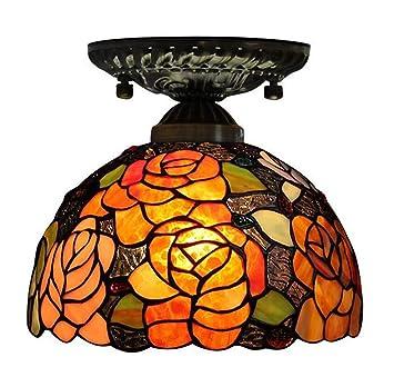 GAOLIQIN Vintage Tiffany Style Lámpara de Techo Lámpara de ...