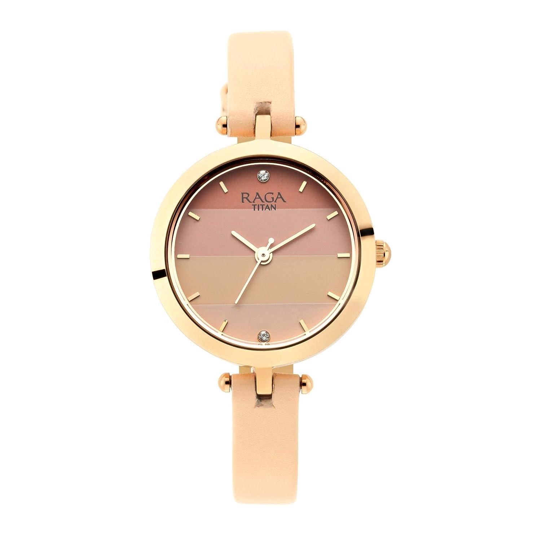 Titan Raga Viva Analog Pink Dial Women's Watch 2606WL02 Women's Wrist Watches