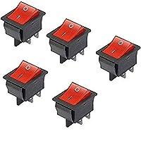 Haobase 5Interruptores basculantes de luz roja, de encendido/apagado