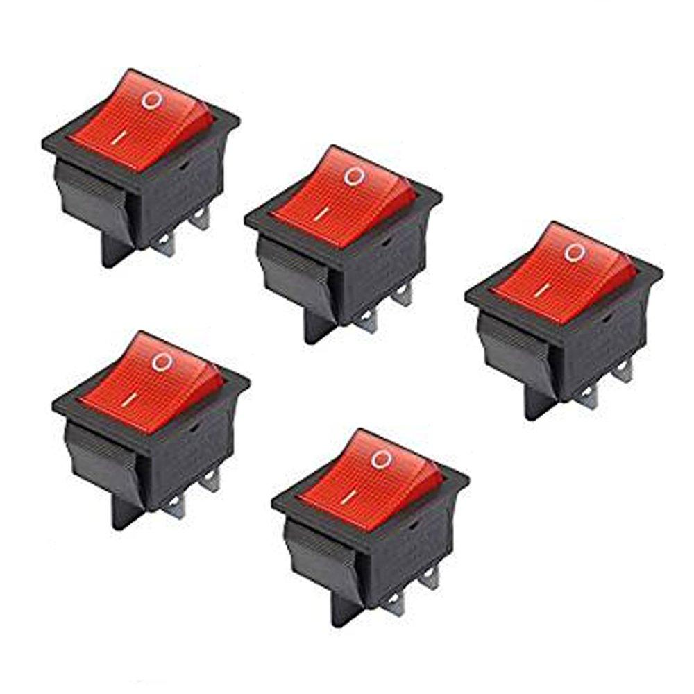 Haobase 5 Interruptores basculantes de luz roja, de encendido/apagado, doble polo, simple tiro, 16 A/250 V, 20 A/125 V CA 16A/250V 20A/125V CA