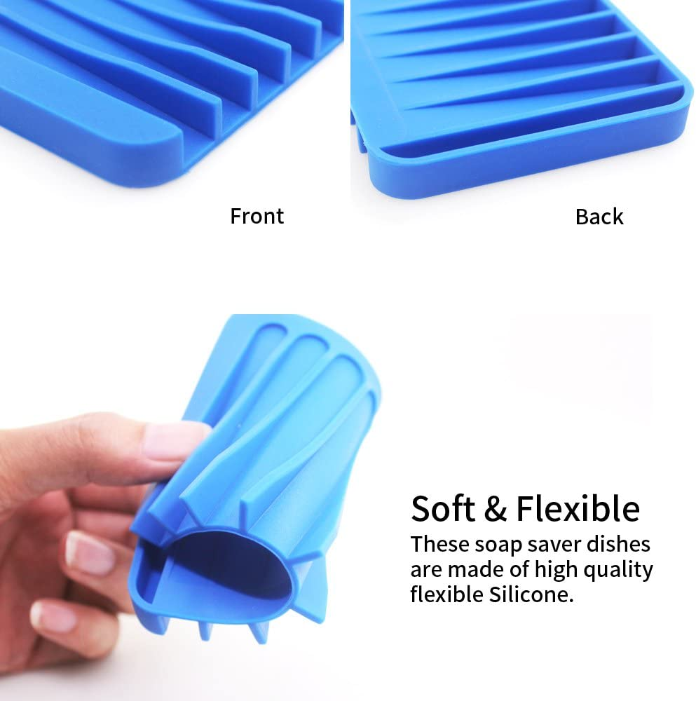 blau gr/ün Senhai bunt Seife Tablett Abtropfgestell f/ür Dusche Badezimmer K/üche/ 4/Pack Silikon Wasserfall Seifenschale Saver-Halterung /rot gelb