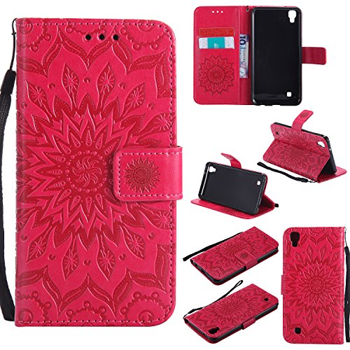 (Leather Wallet Case for LG X Power with Hand Strap,Gostyle LG X Power Flip Magnetic Closure Red Case Embossed Sunflower Pattern,Bookstyle with Card Slots Stand Cover)