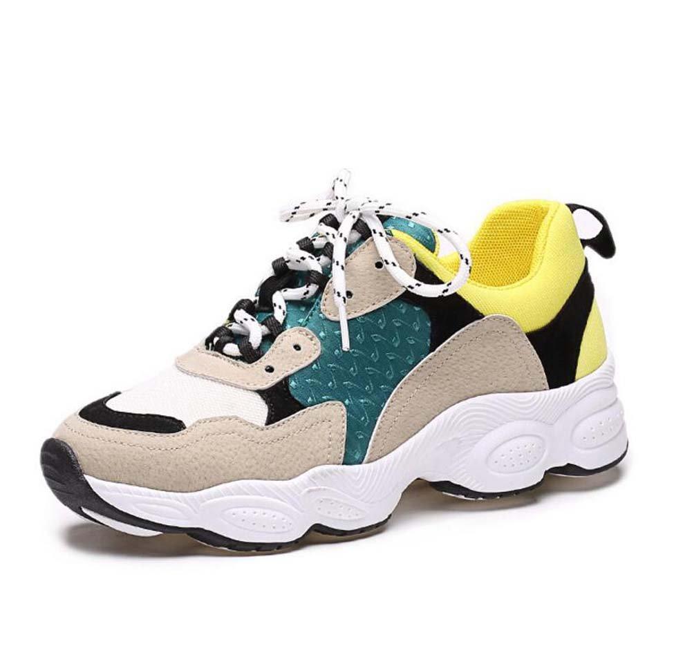 Chaussures de course de pompes Chaussures de sport Femmes Simple à respirer Round Toe Color Match Stitching Shoelace Bottom Bottom Casual Shoes Snakers 2017 Spring And Autumn New Eu Size 34-40