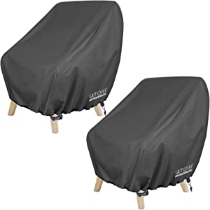 ULTCOVER Waterproof Patio Chair Cover – Outdoor Lounge Deep Seat Single Chair Cover 2 Pack Fits Up to 32L x 34W x 32H inches, Black