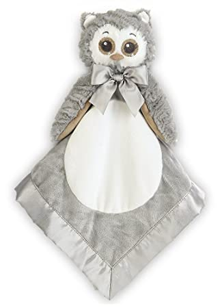 "Small Gray Owl Security Blankie Lovey Bearington Baby Wee Owlie 8/"" x 7/"""