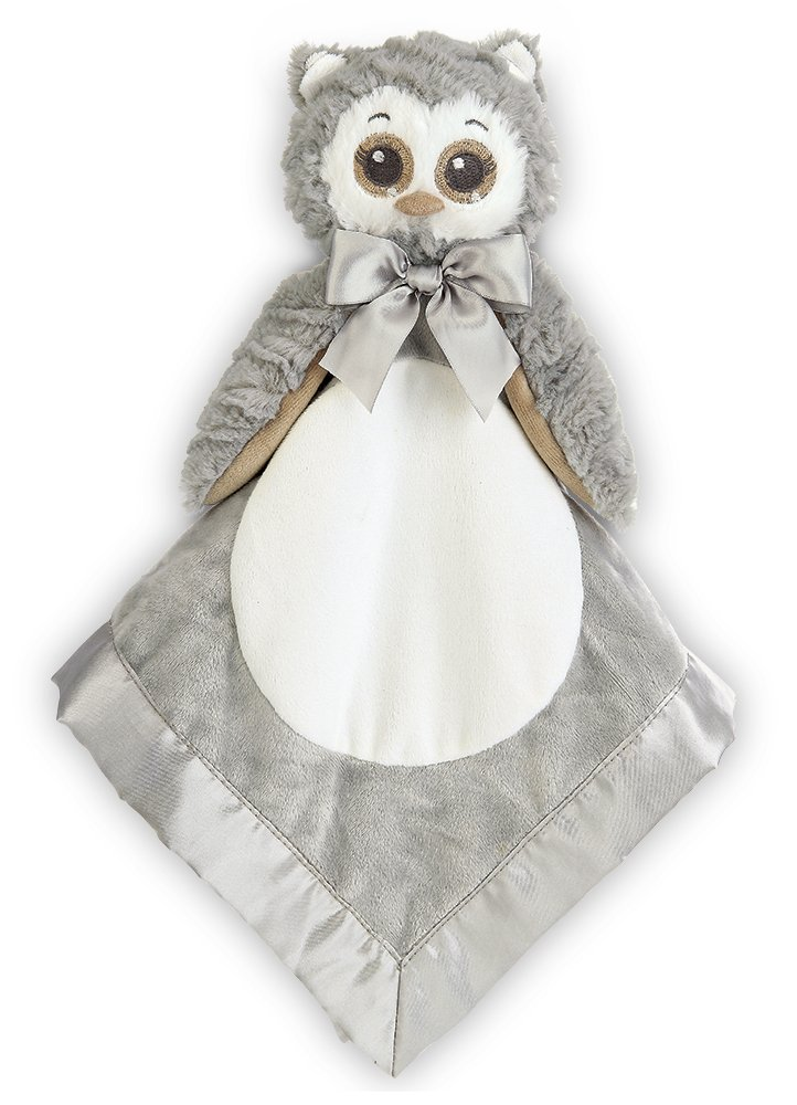 Bearington Baby Lil' Owlie Snuggler, Gray Owl Plush Stuffed Animal Security Blanket, Lovey 15''