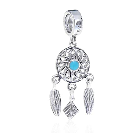 5c4f51c68 Amazon.com: Dream Catcher Charm 925 Sterling Silver Feather Charm Angel  Wing Charm Flower Charm for Pandora Bracelet (A): Arts, Crafts & Sewing
