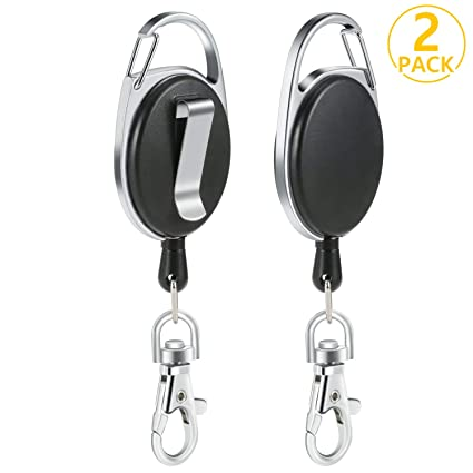 PAMIYO 2pcs Retractable Keychain Extensible Cord Length 65cm Durable Key Ring with Carabiner Belt Clip Badge Holder Black