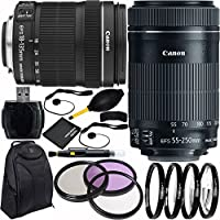 Canon EF-S 18-135mm f/3.5-5.6 IS STM & EF-S 55-250mm f/4-5.6 IS STM Dual Lens Bundle & Accessory Kit for EOS 7D Mark II, 7D, 80D, 70D, 60D, 50D, 40D, 30D, 20D, Rebel T6s, T6i, T5i, T4i, SL1, T3i, T6