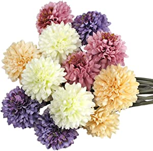 SnailGarden 12 Pcs Artificial Chrysanthemum Ball, 4 Colors Silk Hydrangea Flowers with Twine Cord + Greeting Card, Perfect for Home Office Wedding Christmas Party Baby Shower Decor Thanksgiving Gift