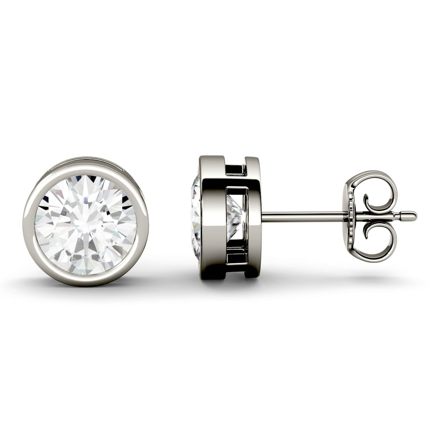 Forever One 6.5mm Round Moissanite Stud Earrings, 2.00cttw DEW By Charles & Colvard