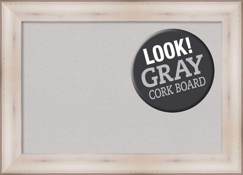 Amanti Art Grey Cork Allure White Framed Bulletin Boards