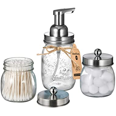 Mason Jar Bathroom Accessories Set - Includes Mason Jar Foaming Hand Soap Dispenser & Qtip Holder Set - Rustic Farmhouse Decor Apothecary Jars Bathroom Countertop and Vanity Organizer / Brushed Nickel
