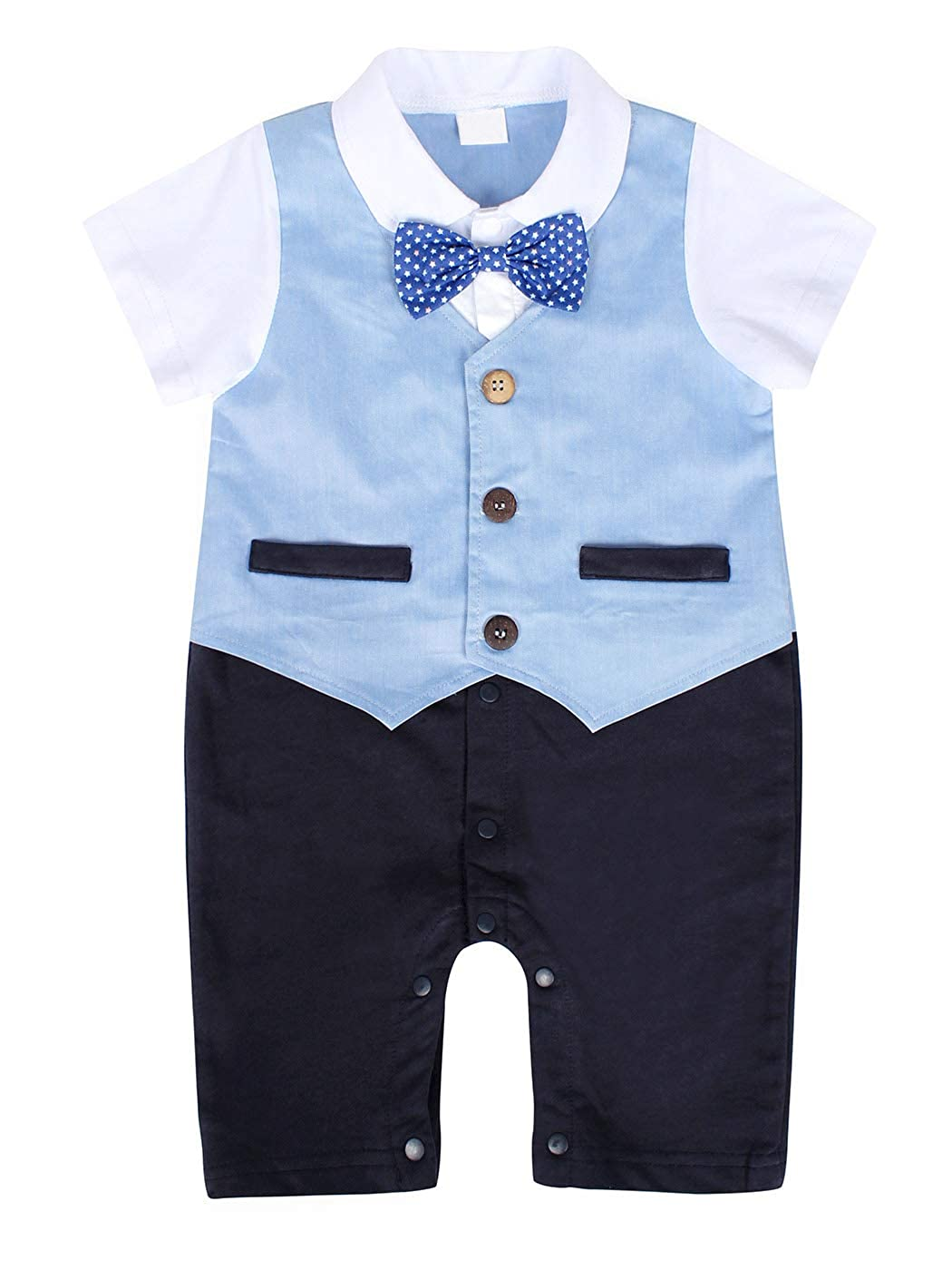 MetCuento Baby Boys One-Piece Rompers Short Sleeve Bow Tie Onesie Formal Suit Gentleman Wedding Outfit