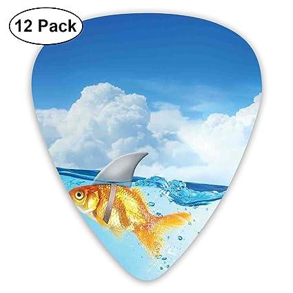 K0k2to Púas para Guitarra, 12 Unidades, diseño de pez Dorado con ...