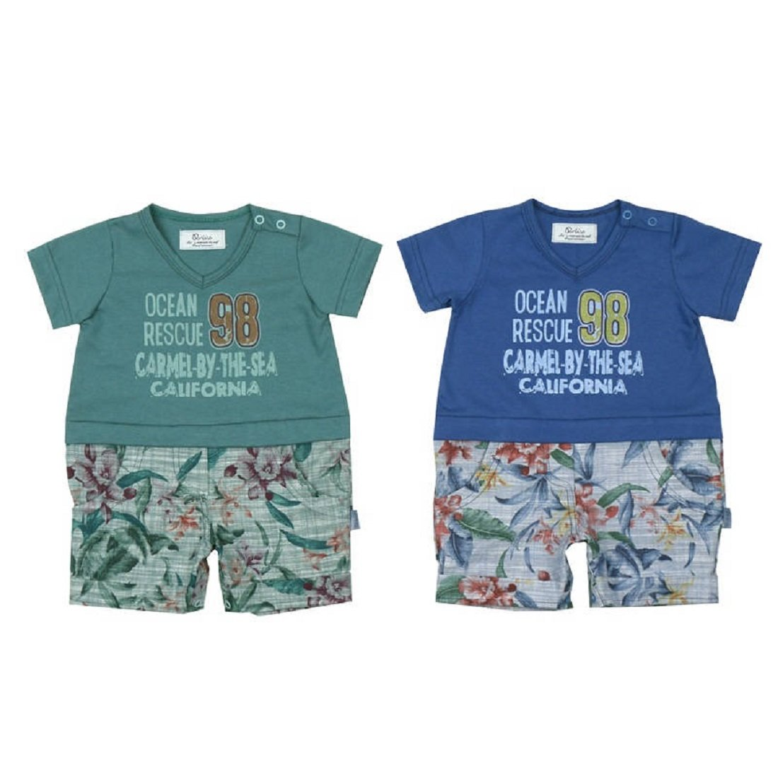 4-8 Months, green Short Sleeve T-shirt With Color Shorts Paraiso Baby