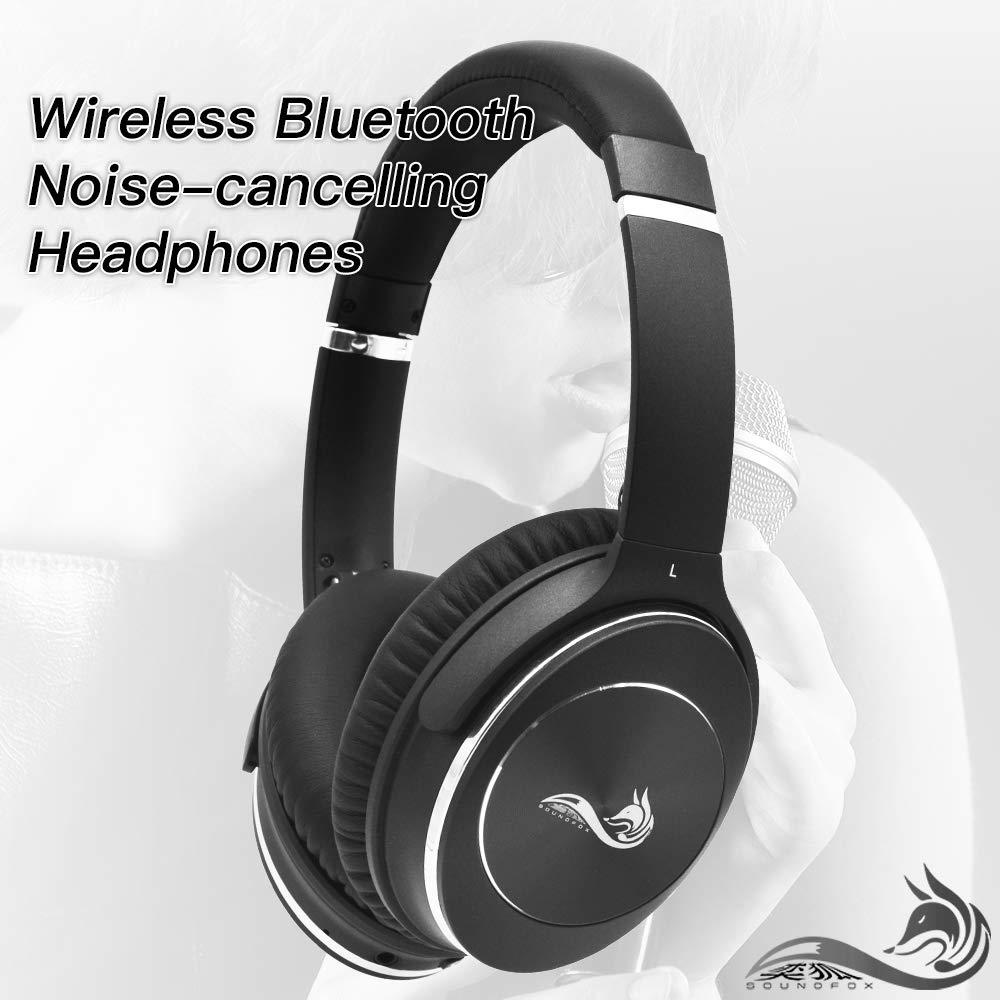 Auriculares Soundfox Cancelacion de Ruido Activa Bluetooth con Mic Deep Bass Inalambrico Over-Ear Confortable Protein Ea