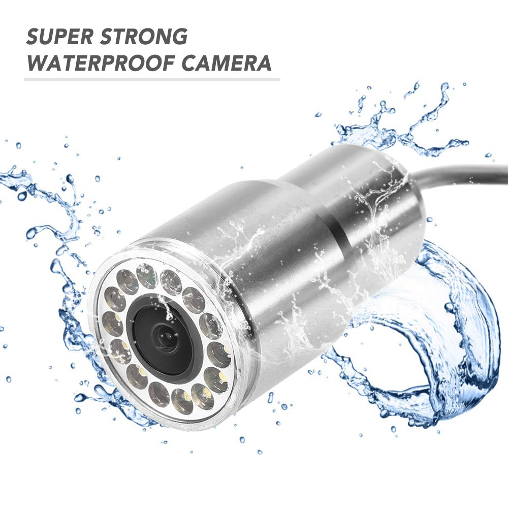Walmeck 1200TVL Underwater Fishing Camera 12 LEDs Night Vision Waterproof Fish Shape Boat Ice Fishing Camera Accessories with 15m//30m//50m Cable