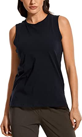 CRZ YOGA Women's Pima Cotton Workout Tank Tops Loose Fit Yoga Sleeveless Shirts Muscle Tank