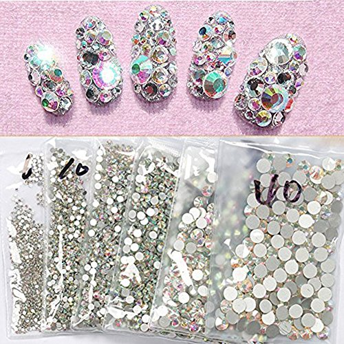 ef7fe5fa8e Minejin Nail Art Rhinestones AB Color Flat Back Charms Crystals Stones  Super Shiny Cellphones Decorations Gems SS8 1440 Pieces