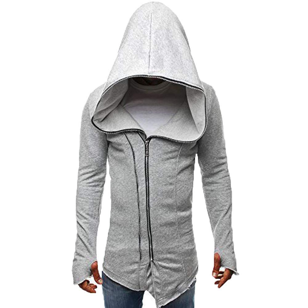 Pervobs Mens Autumn Winter Casual Zipper Pullover Sweatshirt Hoodie Coat Jacket Top