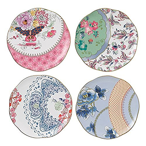 - Wedgwood Harlequin Butterfly Bloom Plates, 8.25-Inch, Set of 4