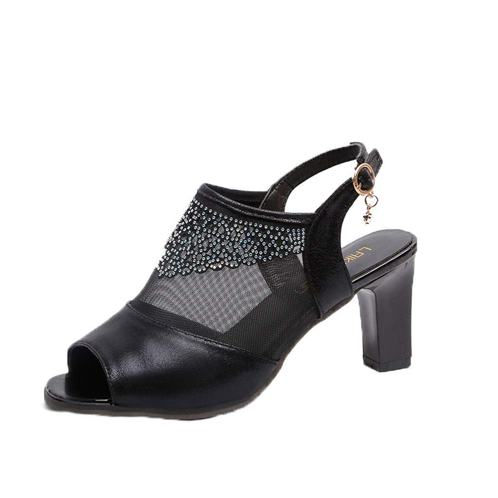 refulgence Women's Thick Heel Sandals,Buckle Strap Platform Rhinestone Shoes Closed Toe Classic Sandals(Black,US=6)