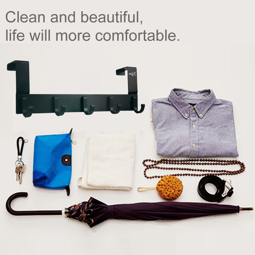 Over The Door Hooks,Rongyuxuan Pack 2 Heavy Duty Over The Door 5 Hooks Organizer Rack,Decorative Organizer Hooks for Clothes Coat Hat Belt Towels,Home or Office Use by Rongyuxuan (Image #9)