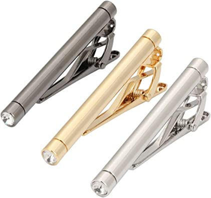 Bar Classic Silver Tone Men/'s Tie Bar Clip