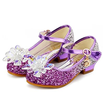 d8072006cab16 HXD Little Girls Heels Mary Jane Formal Party Dress Up Shoes Kids Glitter  Crystal Flower Pumps
