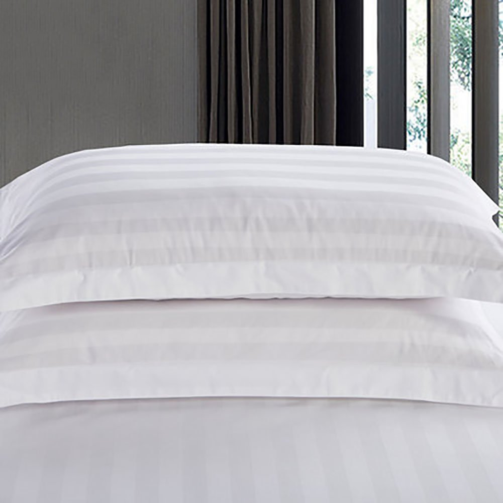 D&L Hotel Cotton White Pillowcase,Encrypted Satin Stripe Pillow Protector High-grade Hypoallergenic Bedding 1pc-pure white 58x85cm(23x33.5inch)