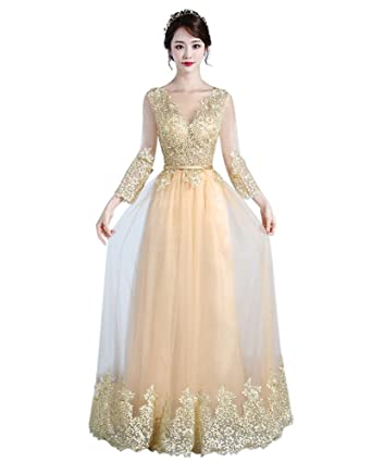Drasawee Womens Long Sleeves Slim Lace Tulle Wedding Formal Party Evening Prom Dresses Gold UK12