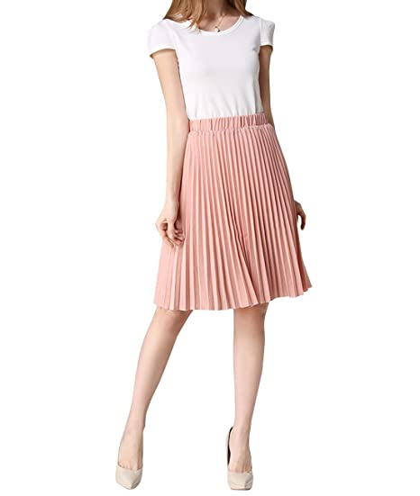 a6762d2d44dc Women s Midi Skirts Chiffon Pleated Knee-length Summer Wear One Size Pink
