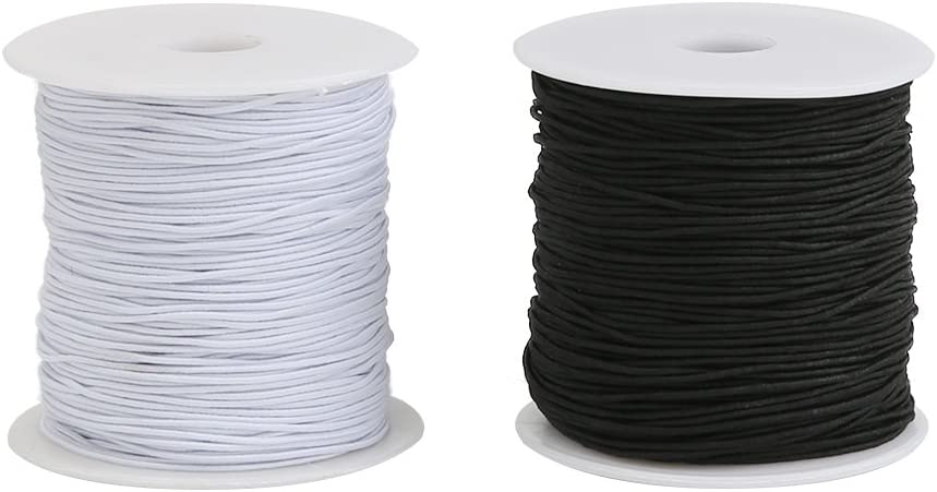 2 Rolls 328 Feet 1mm Stretchy Beading String for Bracelets Necklaces Tenn Well Elastic Cord Thread Jewelry Making and Crafts Black, White
