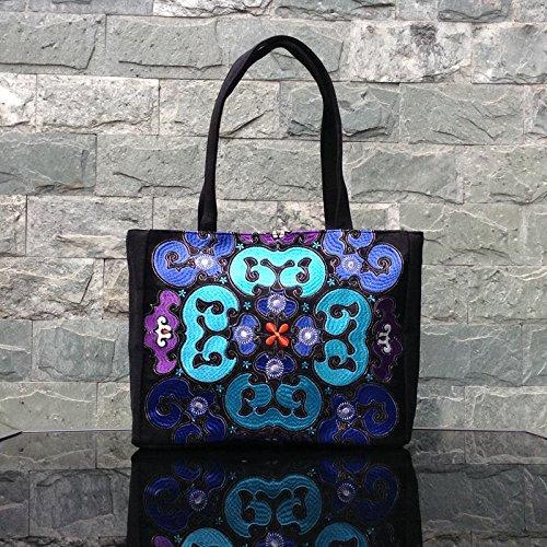 con Big niñas Big Girl Lan Xiangyun de Hombro étnico Bolso Lona de Estilo Nailon para Flor Bag Xiangyun de multifunción LAN de diseño Paquete Bag BISSER YqYAwZR