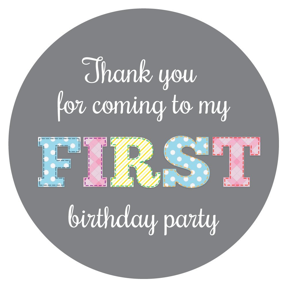 'Thank You For Coming To My First Birthday Party' - 30mm diameter stickers - grey (144) StickerZone