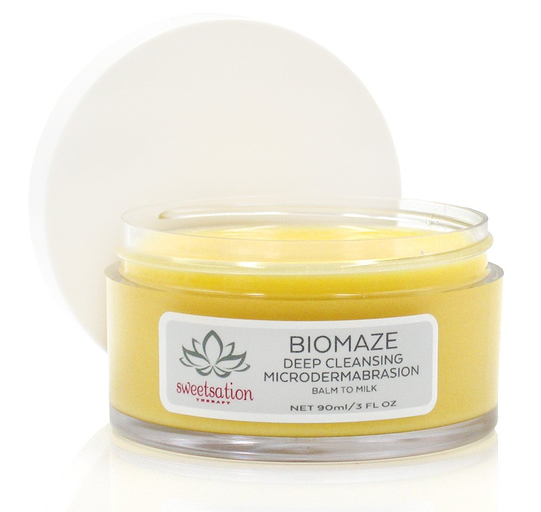 Biomaze Microdermabrasion Balm to Milk Cleanser, 3oz. For smooth and clear skin. With Tahitian Gardenia/Tiare. 100% Natural. 46% Organic.