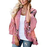 Halife Womens Floral Loose Bell Sleeve Kimono Cardigan Lace Patchwork Cover Up Blouse Top