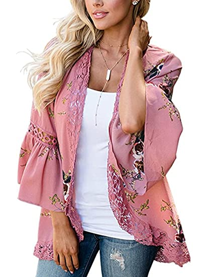 3b1e68295 Womens Floral Loose Bell Sleeve Kimono Cardigan Lace Patchwork Cover Up  Blouse Top