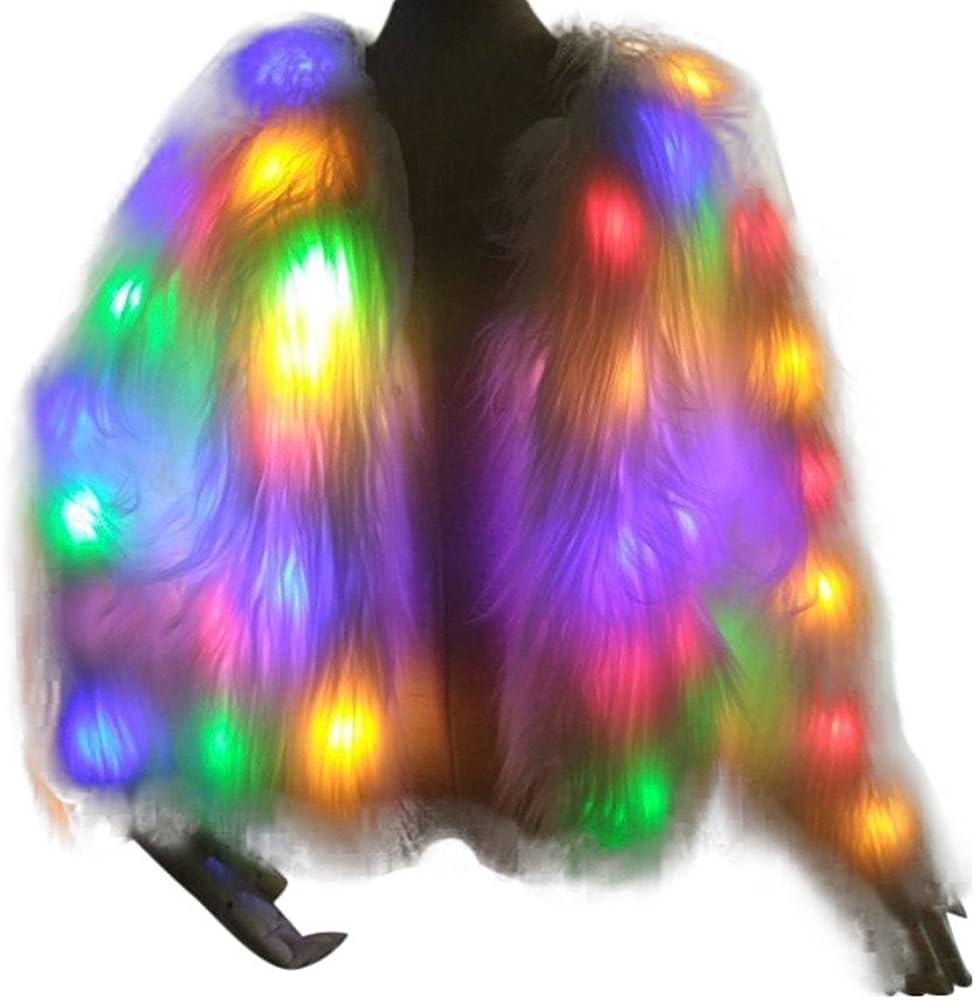 Geilisungren Damen Kunstpelzmantel Weihnachten Karneval Festival LED Bunte Leuchtende Kunstfelljacke Langarm Gro/ße Gr/ö/ßen Outwear Cardigan Nachtclub T/änzer Jacken