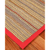 NaturalAreaRugs Resort Sisal Fiber Runner Rug, Handmade in USA, 100% Sisal, Non-Slip Latex Backing, Durable, Stain Resistant, Eco/Environment-Friendly, (2 Feet 6 Inches x 8 Feet) Red Border