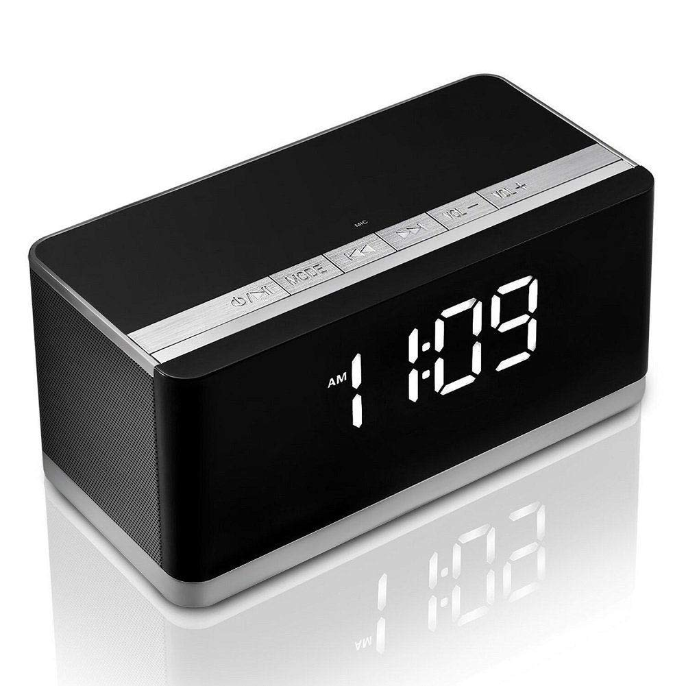 Bluetooth Speaker ALIKE Wireless Portable Bluetooth Speaker Bass Stereo with Alarm Clock, FM Radio, Hands-Free Speaker with Mic, Support TF Card, AUX Line for iPhone, iPod, iPad, Samsung and Others